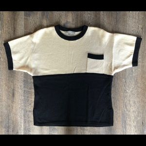 St John Santana Knit Cream & Black Pocket Top S